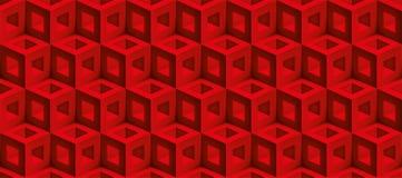 De realistische 3d vectorkubussentextuur, geometrisch naadloos patroon, ontwerpt rode achtergrond voor u projecten royalty-vrije illustratie
