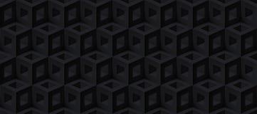 De realistische 3d vectorkubussentextuur, geometrisch zwart naadloos patroon, ontwerpt donkere achtergrond voor u projecten royalty-vrije illustratie