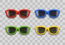 De realistische 3d Zwarte Lenzen van de Kleurenzonnebril op een Transparante Achtergrond Vector royalty-vrije illustratie