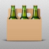 De realistische gedetailleerde groene flessen van het glasbier met drank in ambacht verpakking geïsoleerd op een trasparent achte Royalty-vrije Stock Afbeelding