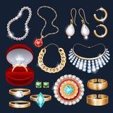 De realistische geplaatste pictogrammen van juwelentoebehoren Stock Foto