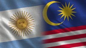 De Realistische Halve Vlaggen van Argentinië en van Maleisië samen stock illustratie