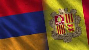 De Realistische Halve Vlaggen van Armenië en van Andorra samen royalty-vrije illustratie