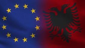 De Realistische Halve Vlaggen van de EU en van Albanië samen vector illustratie