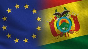 De Realistische Halve Vlaggen van de EU en van Bolivië samen stock illustratie