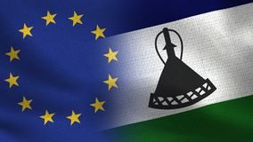 De Realistische Halve Vlaggen van de EU en van Lesotho samen - Europese Unie royalty-vrije illustratie