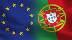 De Realistische Halve Vlaggen van de EU en van Portugal samen vector illustratie