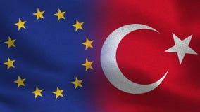 De Realistische Halve Vlaggen van de EU en van Turkije samen royalty-vrije illustratie