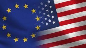 De Realistische Halve Vlaggen van de EU en van de V.S. samen - Europese Unie royalty-vrije illustratie