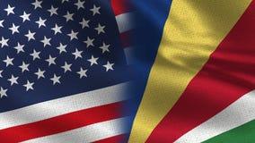 De Realistische Halve Vlaggen van de V.S. en van Seychellen samen stock foto