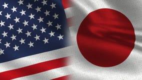 De Realistische Halve Vlaggen van de V.S. Japan samen royalty-vrije stock foto