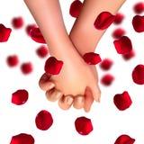 De realistische handen van minnaars en namen bloemblaadjes hoogste mening over geïsoleerde witte achtergrond toe Liefde en vriend vector illustratie
