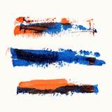 De realistische slagen van de kleuren vectorborstel van verf Stock Foto