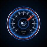 De realistische vectorinterface van de autosnelheidsmeter Stock Afbeelding