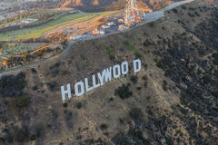 De Recente Middagantenne van het Hollywoodteken stock afbeeldingen