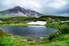 De recente Ochtendscène zet Asahidake Hokkaido op Royalty-vrije Stock Afbeelding