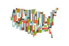De Rechthoekige Abstracte Kaart van de V.S. Verenigde Staten Vector ontwerp vector illustratie