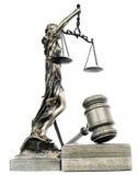 De rechtvaardigheid van de dame en een hamer Stock Afbeeldingen