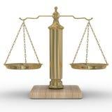 De rechtvaardigheid van schalen op een witte achtergrond Stock Foto