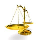 De rechtvaardigheid van schalen op witte achtergrond. Geïsoleerdet 3D Royalty-vrije Stock Afbeeldingen
