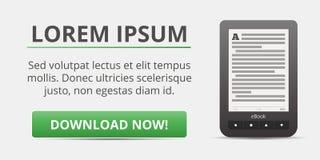 De reclame van eBook Een draagbaar apparaat voor lezing De download knoopt nu dicht Stock Foto's