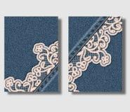 De reclame van vliegerontwerpsjabloon met blauwe denimachtergrond en genaaid bloemen sierkant Kan worden gebruikt om pamfletten t royalty-vrije illustratie