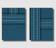 De reclame van vliegerontwerpsjabloon met blauwe denimachtergrond en genaaide jeansstroken Kan worden gebruikt om pamfletten, bro stock illustratie