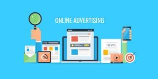 De reclame van - website marketing - online het commerciële verkopen Vlakke ontwerp reclamebanner stock afbeeldingen
