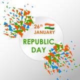 De Reclamebanner van de verkoopbevordering voor 26 Januari, de Gelukkige Dag van de Republiek van India stock illustratie