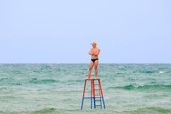 De redder op een toren Stock Foto