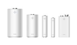 De reeks Batterijen rangschikt AMERIKAANSE CLUB VAN AUTOMOBILISTEN, aa, PP3, 9 Voltbatterij Royalty-vrije Stock Foto