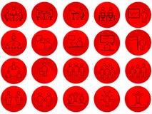 De reeks Bedrijfsmensen bracht Vectorlijnpictogrammen met lange schaduwen met elkaar in verband vector illustratie