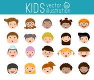 De reeks beeldverhaalkinderen leidt, het gezichtspictogram van het beeldverhaalkind, jong geitjegezicht, jonge geitjes en verschi Royalty-vrije Stock Fotografie