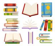 De reeks boekpictogrammen opent en sluit boeken in de vlakke die illustratie van de ontwerpstijl op witte achtergrondwebsitepagin Royalty-vrije Stock Foto's