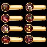 De reeks casinoelementen Stock Afbeeldingen