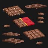 De reeks chocoladerepen op een zwarte achtergrond Stock Afbeelding