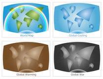 De reeks conceptuele wereldkaarten, illustreert milieu Stock Fotografie