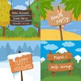 De reeks diverse houten tekens met tekst, houten oude planken ondertekent op tropische, kleurrijke de herfst, de winter en de len stock illustratie