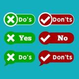 De reeks doet en controleert tikteken en rood kruischeckbox geïsoleerd pictogrammen geen ontwerp op witte achtergrond royalty-vrije illustratie