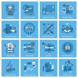De reeks dunne pictogrammen van het lijnconcept van verschillende categorieën van grafisch ontwerp, de website en app ontwerpen e Royalty-vrije Stock Afbeelding