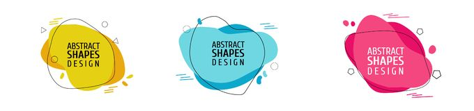 De reeks Dynamische gekleurde vormen, vat moderne grafische elementen samen vector illustratie