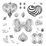 De reeks elementen voor de dagachtergrond van Valentine om groetkaarten te verfraaien geeft de contouren aan van vlinder, bloem,  vector illustratie