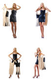 De reeks foto's met vrouw die nieuwe kleding proberen Stock Afbeeldingen