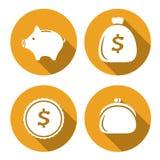 De reeks geldpictogrammen, financiert vlakke stijl Royalty-vrije Stock Foto