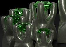 De reeks gemmenstenen in metaalhouder zet 3d illustratie op stock afbeelding