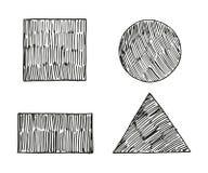 De reeks geometrische vormen schetst vectorillustratie Stock Afbeelding