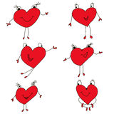 De reeks is geschilderde rode harten, pictogrammen voor Valentine Royalty-vrije Stock Foto's