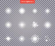De reeks gloeit Helder Ster Licht Vuurwerk royalty-vrije illustratie