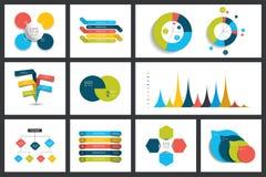 De reeks grafieken van infographicselementen, grafieken, cirkelgrafieken, diagrammen, toespraak borrelt Vlak en 3D ontwerp Stock Fotografie
