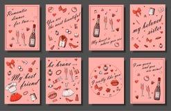 De reeks hand getrokken malplaatjes vormt kaarten met meisjesdingen, romantische voorwerpen en uitdrukkingen Prentbriefkaaren met stock illustratie